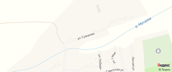 Улица Суворова на карте села Акзигитово Татарстана с номерами домов