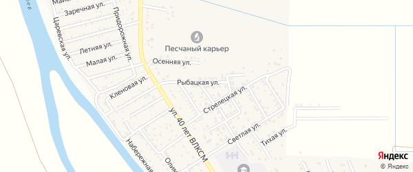 Рыбацкая улица на карте поселка Кирпичного Завода N1 Астраханской области с номерами домов