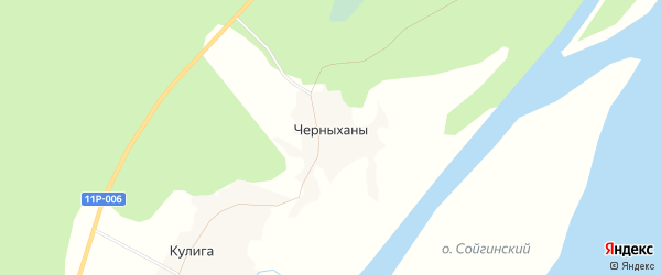 Карта деревни Черныханы в Архангельской области с улицами и номерами домов