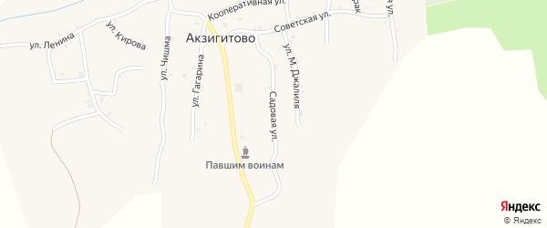 Садовая улица на карте села Акзигитово Татарстана с номерами домов