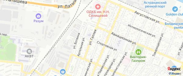 Улица Галлея на карте Астрахани с номерами домов