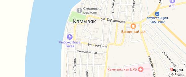 Пристанский переулок на карте Камызяка с номерами домов