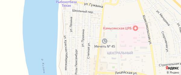 Больничный переулок на карте Камызяка с номерами домов
