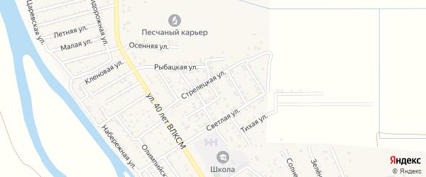 Центральная улица на карте поселка Кирпичного Завода N1 Астраханской области с номерами домов