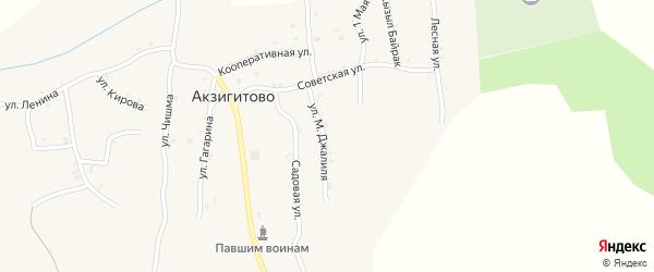 Улица М.Джалиля на карте села Акзигитово Татарстана с номерами домов