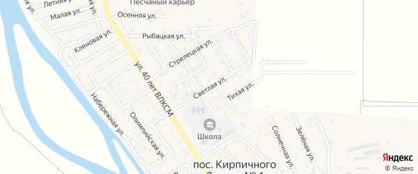 Светлая улица на карте поселка Кирпичного Завода N1 Астраханской области с номерами домов
