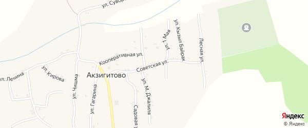 Советская улица на карте села Акзигитово Татарстана с номерами домов