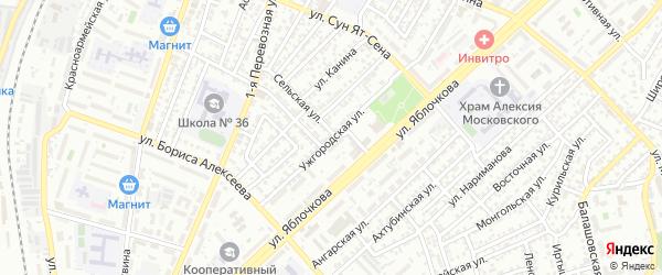 Ужгородская улица на карте Астрахани с номерами домов