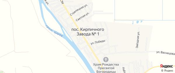 Садовое товарищество Кооператор на карте поселка Кирпичного Завода N1 Астраханской области с номерами домов