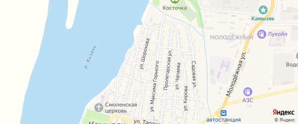 Речной переулок на карте Камызяка с номерами домов
