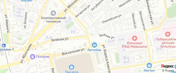 Зеленая улица на карте Астрахани с номерами домов