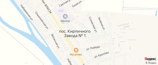 Улица Чехова на карте поселка Кирпичного Завода N1 Астраханской области с номерами домов