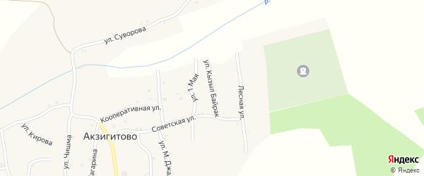 Улица Кызыл Байрак на карте села Акзигитово Татарстана с номерами домов