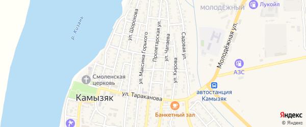 Пролетарская улица на карте Камызяка с номерами домов