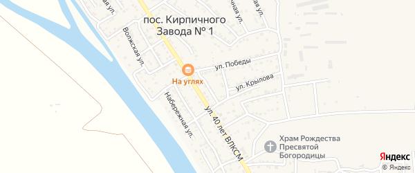 1-й Пионерский переулок на карте поселка Кирпичного Завода N1 Астраханской области с номерами домов