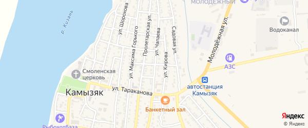 Октябрьский переулок на карте Камызяка с номерами домов
