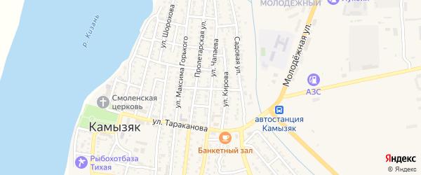 Улица Чапаева на карте Камызяка с номерами домов