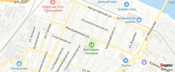 Авиационная улица на карте Астрахани с номерами домов