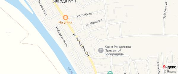 Переулок 1 Мая на карте поселка Кирпичного Завода N1 Астраханской области с номерами домов