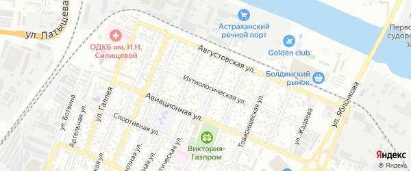 Ихтиологическая улица на карте Астрахани с номерами домов