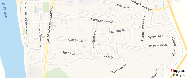 Зеленая улица на карте Камызяка с номерами домов