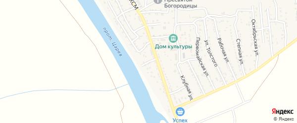 Улица Некрасова на карте поселка Кирпичного Завода N1 Астраханской области с номерами домов
