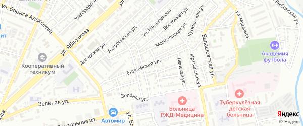 Енисейская улица на карте Астрахани с номерами домов