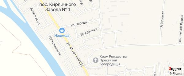 Улица Шолохова на карте поселка Кирпичного Завода N1 Астраханской области с номерами домов