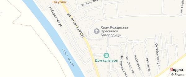 Заводской переулок на карте поселка Кирпичного Завода N1 Астраханской области с номерами домов