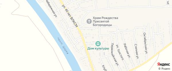 Школьный переулок на карте поселка Кирпичного Завода N1 Астраханской области с номерами домов