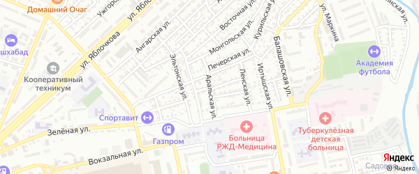Аральская улица на карте Астрахани с номерами домов