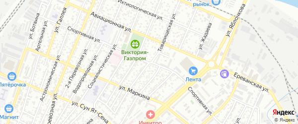 Товарищеская улица на карте Астрахани с номерами домов