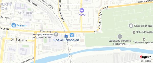 Улица Софьи Перовской на карте Астрахани с номерами домов