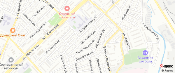 Восточная улица на карте Астрахани с номерами домов