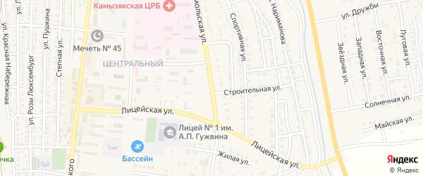 Комсомольская улица на карте Камызяка с номерами домов