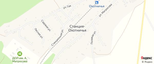Полевая улица на карте поселка Станция-Охотничьей Ульяновской области с номерами домов