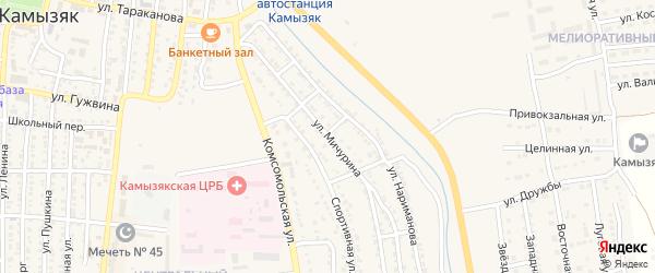 Улица Мичурина на карте Камызяка с номерами домов