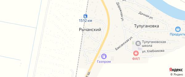 Вокзальный 2-й переулок на карте Рычанского поселка Астраханской области с номерами домов