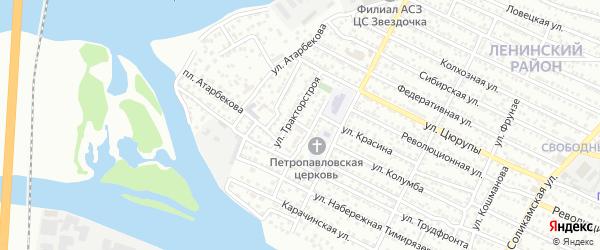Переулок Тракторстроя на карте Астрахани с номерами домов
