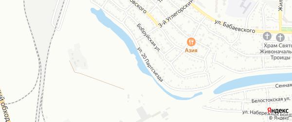 Улица 20 Партсъезда на карте Астрахани с номерами домов