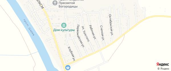 Улица Толстого на карте поселка Кирпичного Завода N1 Астраханской области с номерами домов