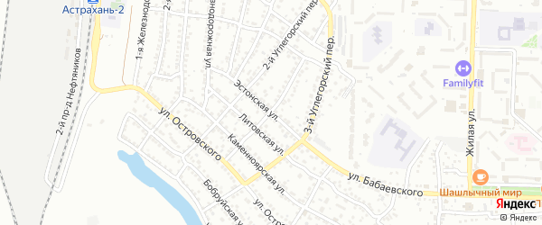 Эстонская улица на карте Астрахани с номерами домов