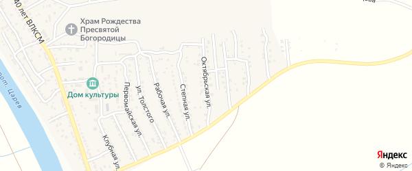 Октябрьская улица на карте поселка Кирпичного Завода N1 Астраханской области с номерами домов