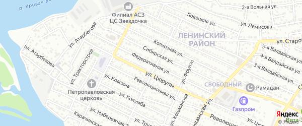 Федеративная улица на карте Астрахани с номерами домов
