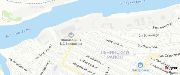 Ловецкий переулок на карте Астрахани с номерами домов