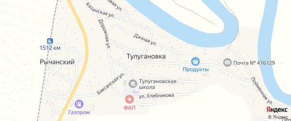 Дачная улица на карте села Тулугановки Астраханской области с номерами домов