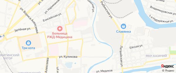 Садовое товарищество Садовод на карте Астрахани с номерами домов