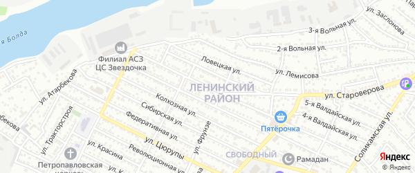 Улица Днепростроя на карте Астрахани с номерами домов