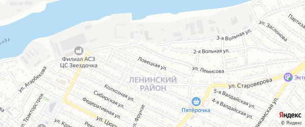 Ловецкая улица на карте Астрахани с номерами домов