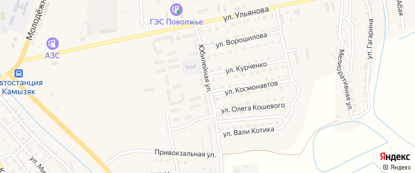 Юбилейная улица на карте Камызяка с номерами домов